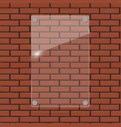 glass frame on brick wall vector image