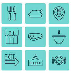 set of 9 restaurant icons includes doorway steak vector image