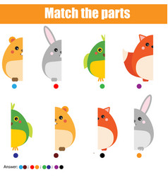 Matching children educational game kids activity vector