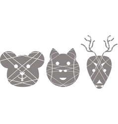 Set of separated animal logotypes vector