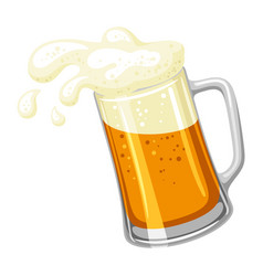 Mug with light beer and froth for vector
