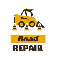 Logo mini loader road repair asphalt processing vector