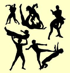 Wrestling fight sport silhouette vector