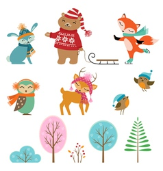 Cute winter animals vector