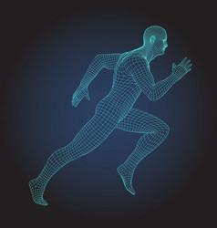 3d wire frame human body sprinter running figure vector