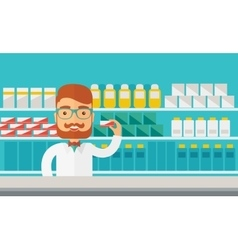 Young pharmacy chemist man standing in drugstore vector
