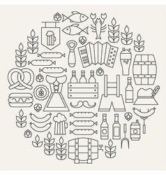 Oktoberfest beer holiday line icons set circular vector