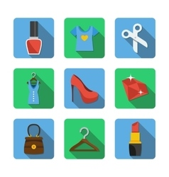 Nine different icons in a flat style vector image