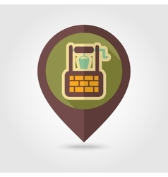 Water well flat mapping pin icon with long shadow vector