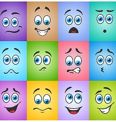 Blue eyes in different emotions on colored vector