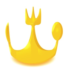 Gold crown spoon knife fork vector