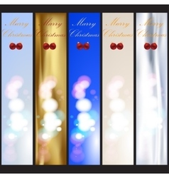 Set of Merry Christmas and Happy New Year banners vector image