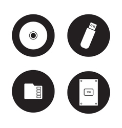Data storage devices black icons set vector