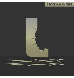 Letter L Broken mirror vector image