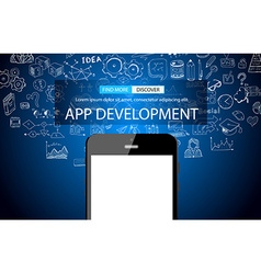 App Development Concept Background with Doodle vector image vector image