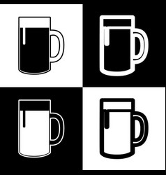 Beer glass sign black and white icons and vector