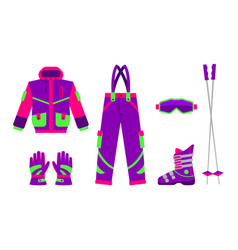 big set of flat style skiing hiking equipment vector image vector image