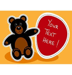 Cartoon black bear with sign vector
