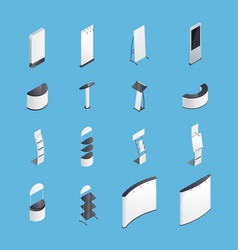 exhibition stands isometric icons set vector image vector image