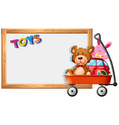 Frame template with toys on red wagon vector