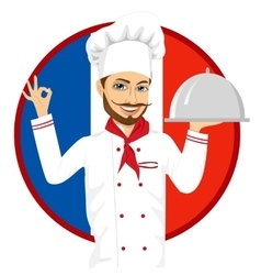 French cuisine chef with funny big mustache vector