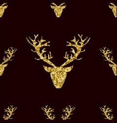 gold glitter deer horns seamless pattern vector image vector image