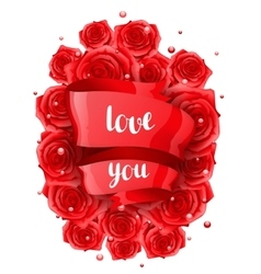 Happy valentine day greeting card with red vector