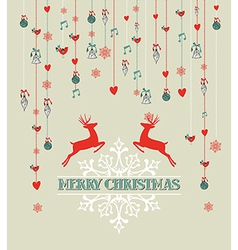 Merry christmas vintage reindeer and bauble vector