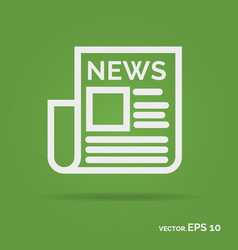 News outline icon white color vector