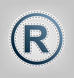 Registered trademark sign blue icon with vector