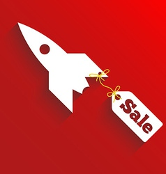 Sale teg fly on the rocket red background vector image