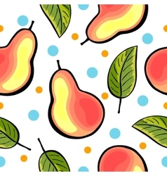 Seamless pear pattern with blue dots vector image