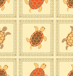 Seamless Turtles colorful ornaments vector image vector image