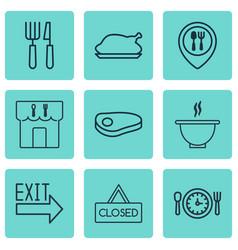 set of 9 restaurant icons includes doorway steak vector image