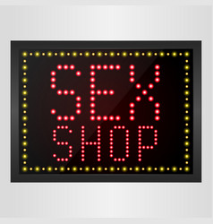 Shining retro light banner sex shop sign vector