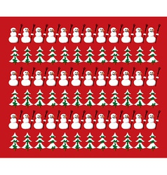 Snowman and firs pattern vector image vector image
