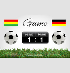 soccer or football ball with scoreboard and flags vector image