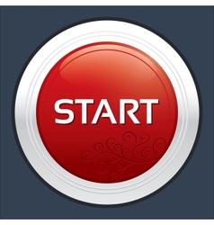 Start button Round sticker Metallic icon vector image