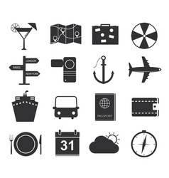 Travel icons set of black icons tourism vector