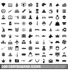 100 contraband icons set simple style vector