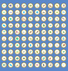 100 navigation icons set cartoon vector image