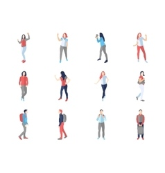 People male female in different casual poses vector
