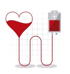 Blood bag heart donation icon graphic vector