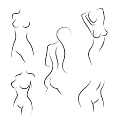 Nude woman silhouettes vector image