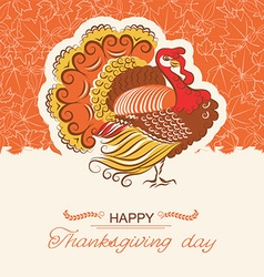 Turkey bird decor background for thanksgiving day vector