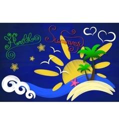 Hi summer sun sea palm trees vector image