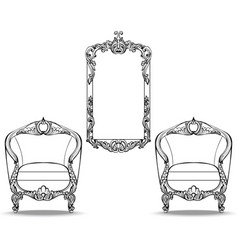 Imperial baroque chair and mirror frame with vector