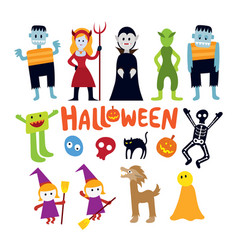 Halloween monster characters set vector