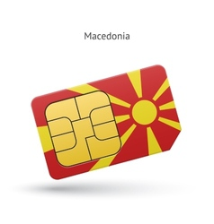 Macedonia mobile phone sim card with flag vector