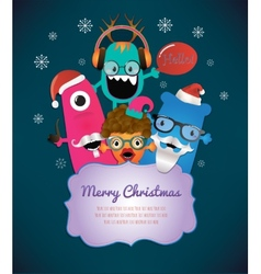 Monster merry christmas card design vector